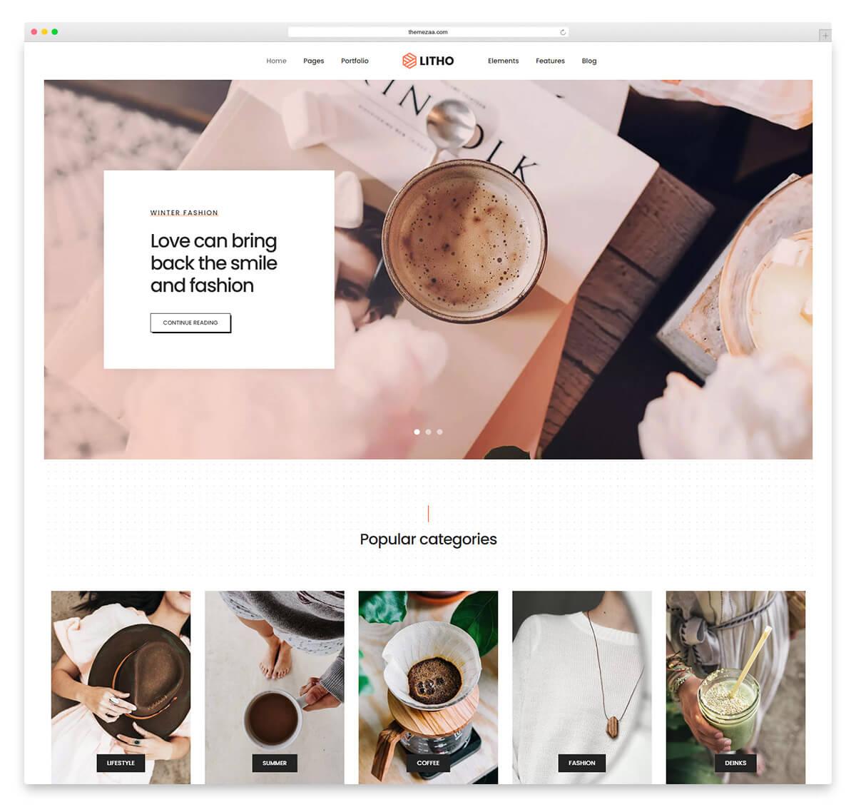 litho wordpress blog theme