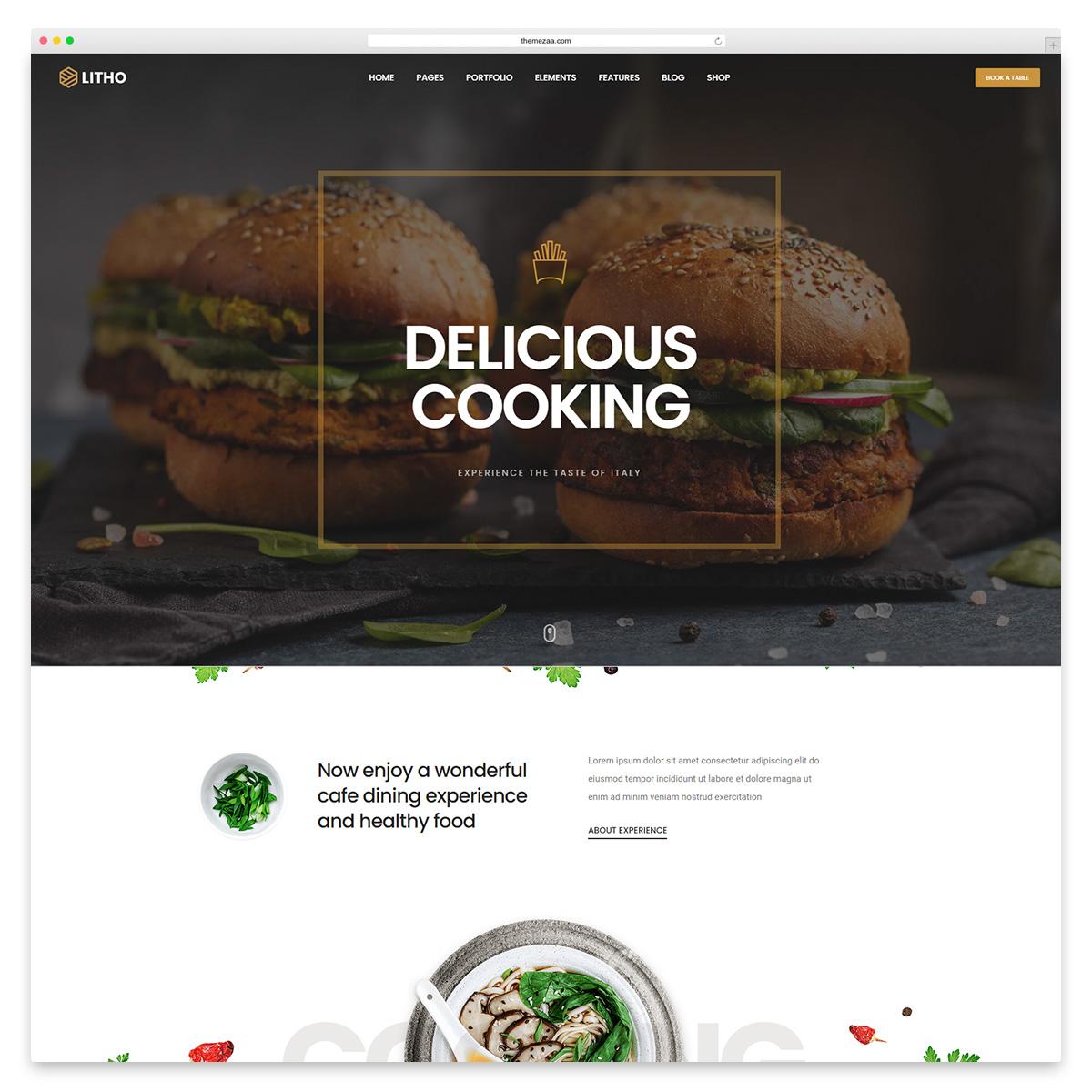 litho wordpress restaurant theme