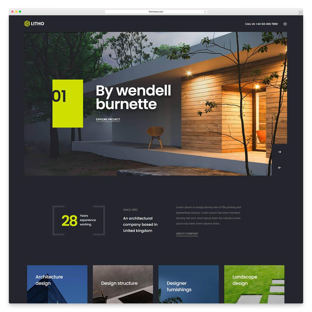 litho wordpress theme for architects