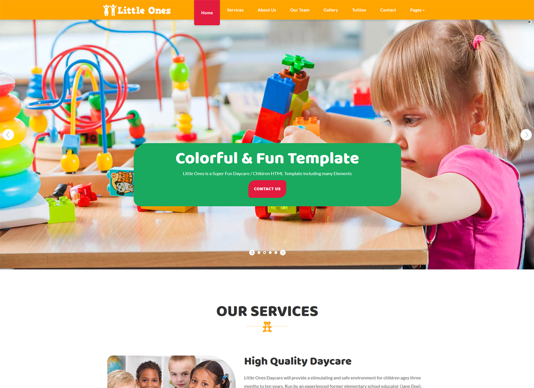 Little Ones | One Page Children/Daycare WordPress Theme