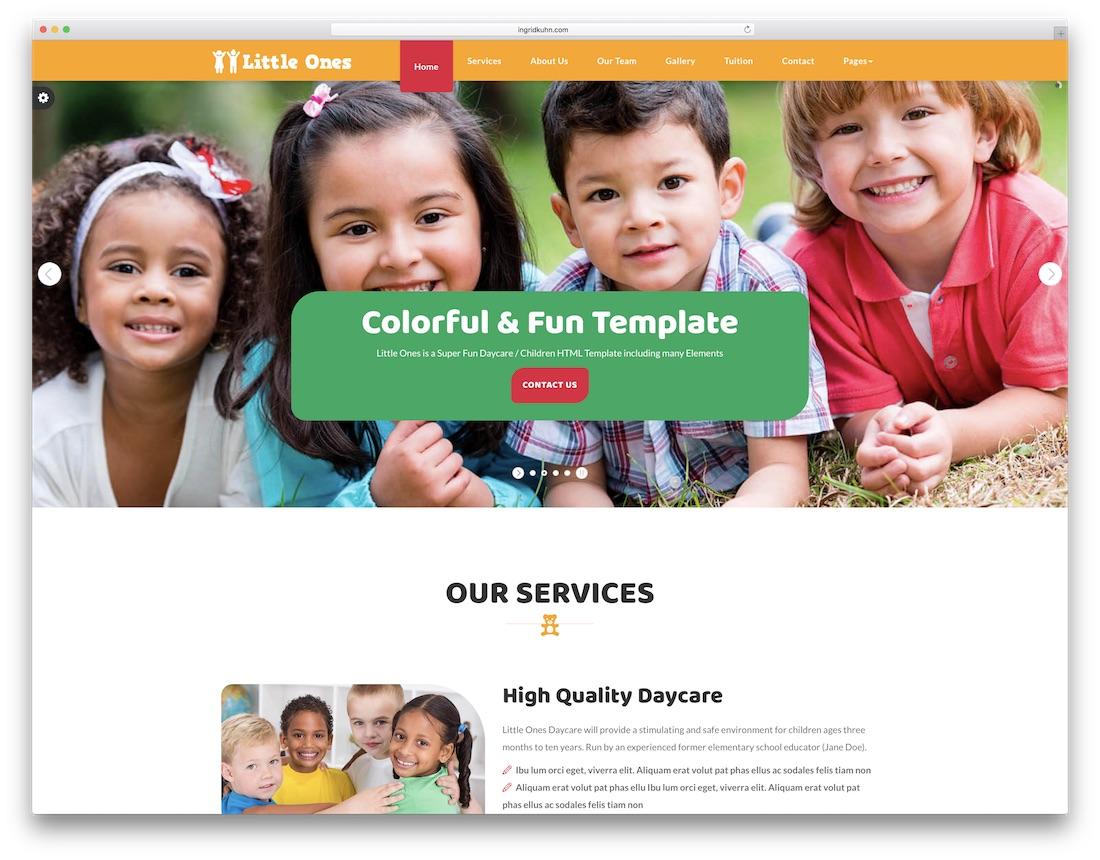 little ones school website template