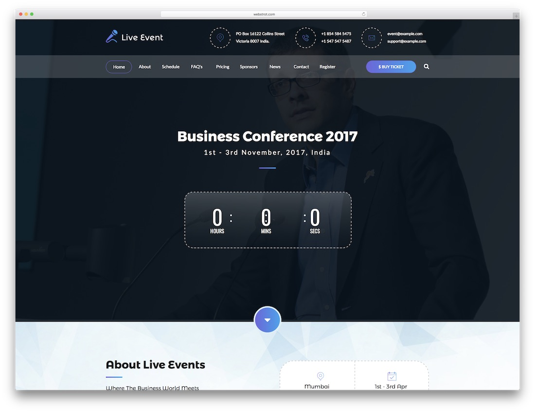 live event adobe muse landing page template