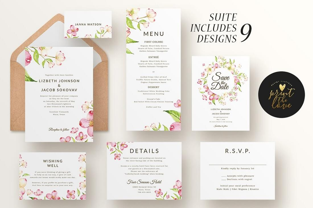 lizbeth wedding invitation suite