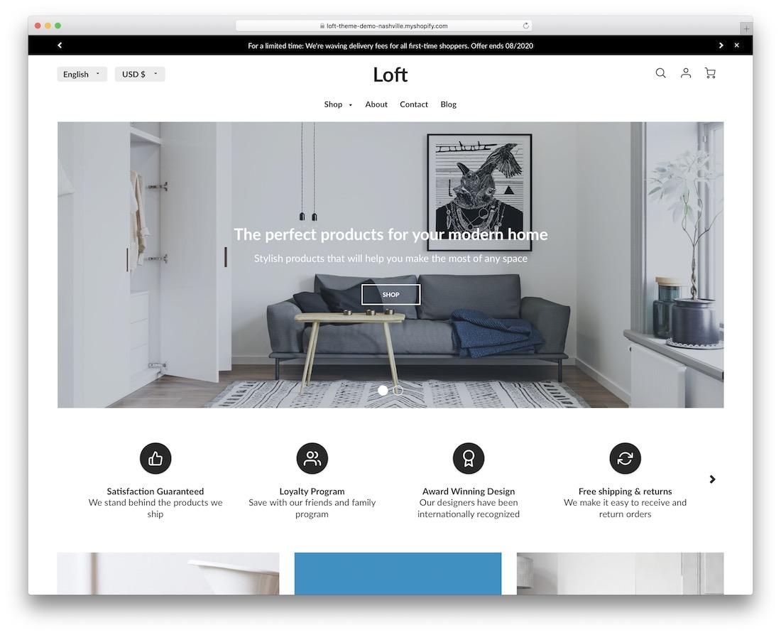 loft shopify parallax theme