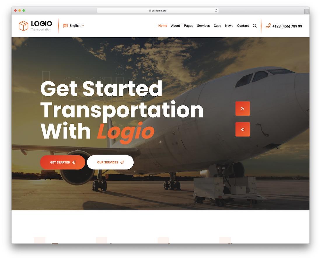 logio transportation wordpress theme