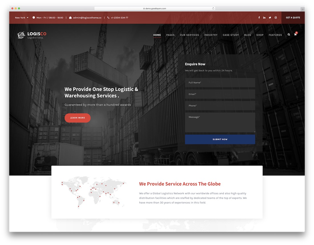logisco transportation logistics wordpress theme