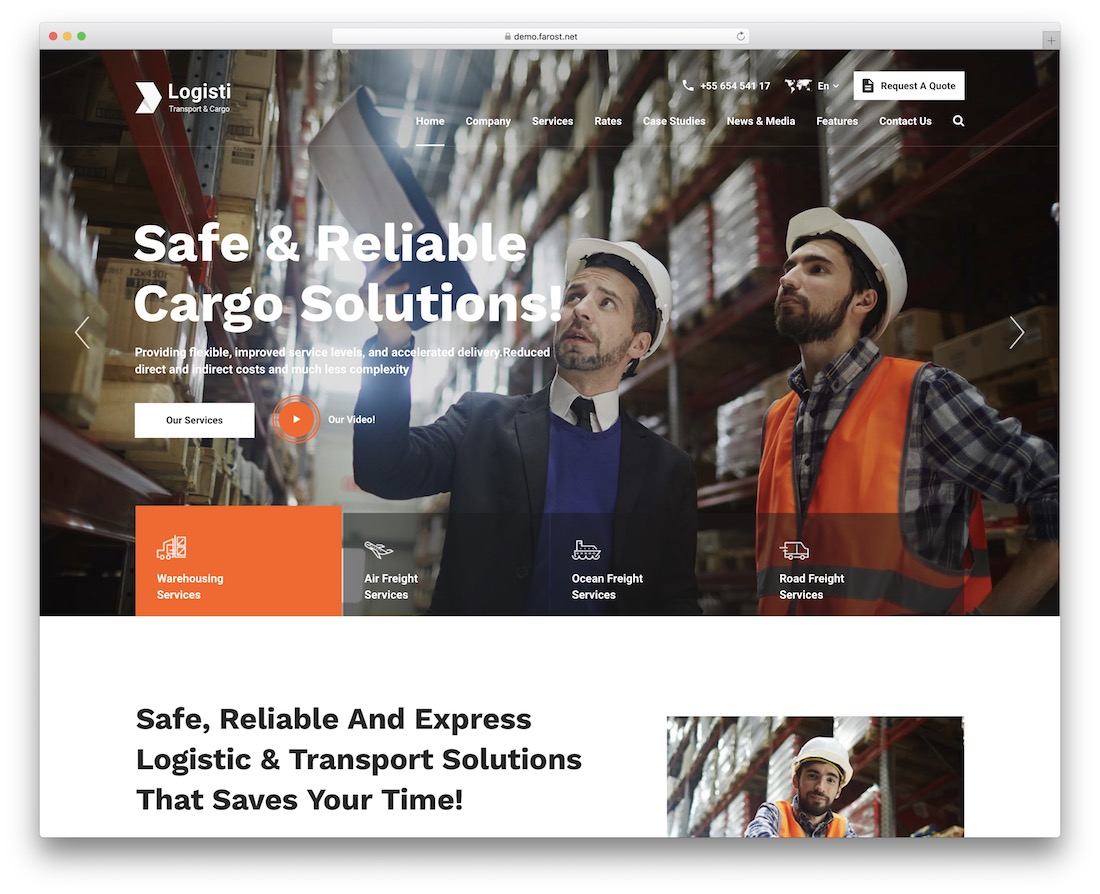 logisti transportation logistics wordpress theme