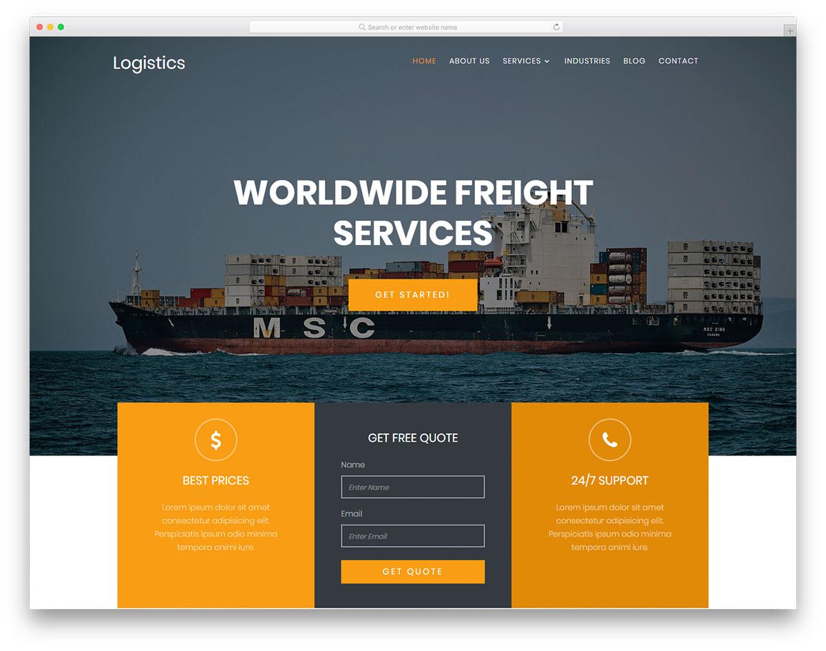 Скачать бесплатно html шаблон Logistics