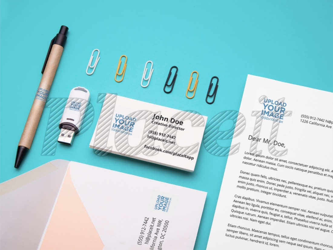 logo mockup featuring stationery items