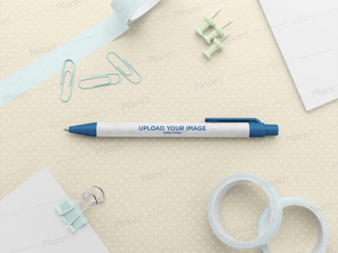 logo mockup of an eco friendly pen