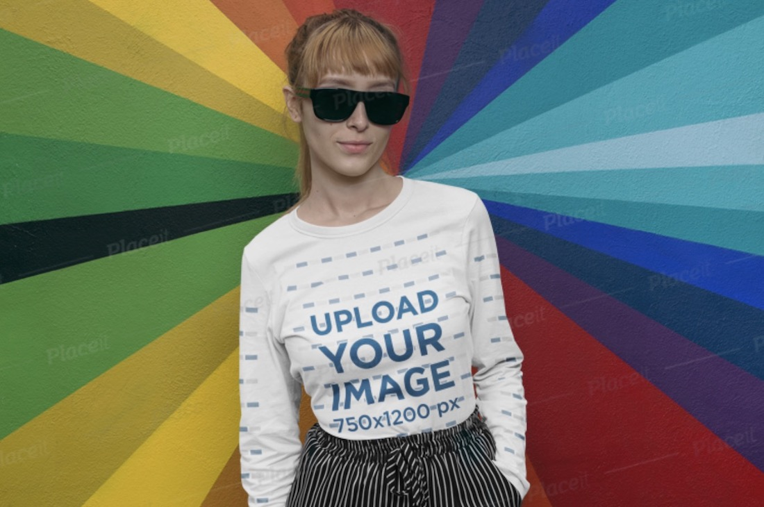long sleeve mockup featuring a woman wearing sunglasses