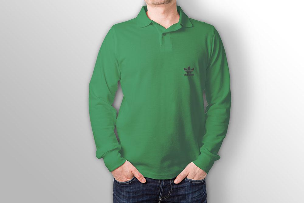 long sleeve polo shirt mockup