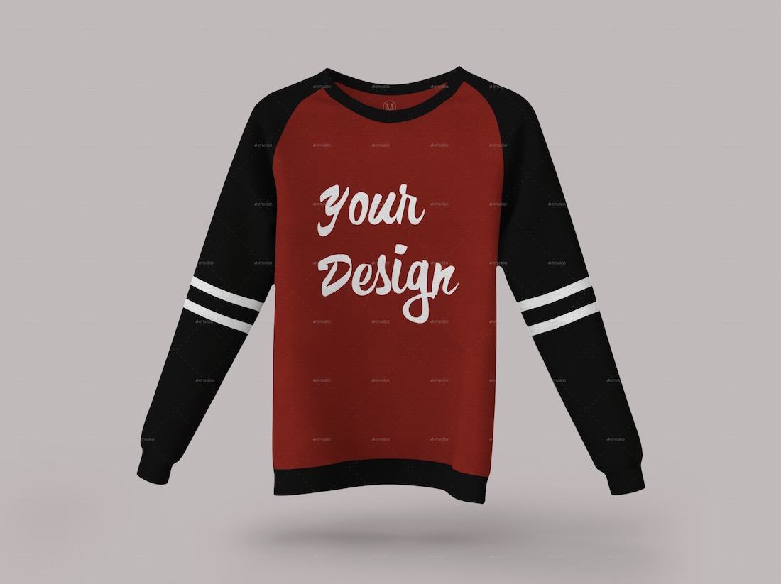 long sleeve raglan sweatshirt mockup
