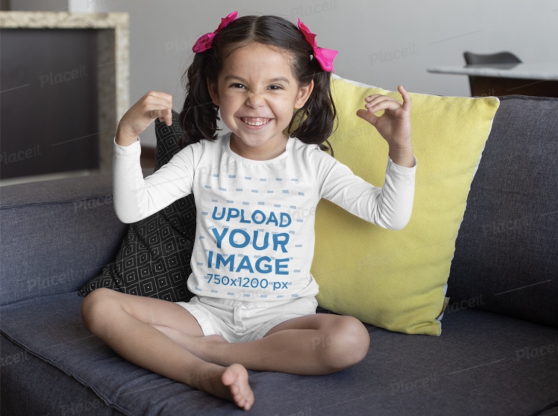 long sleeve shirt mockup of a little girl