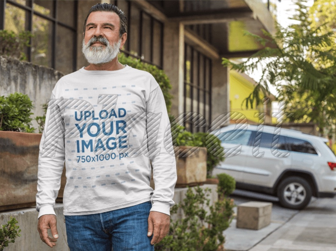 long sleeve tee mockup of a handsome elder man