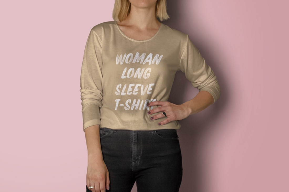 long sleeve woman shirt psd mockup