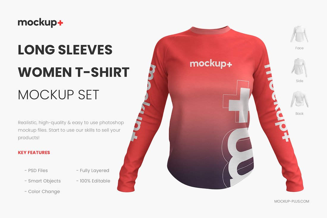 long sleeves women shirt mockup