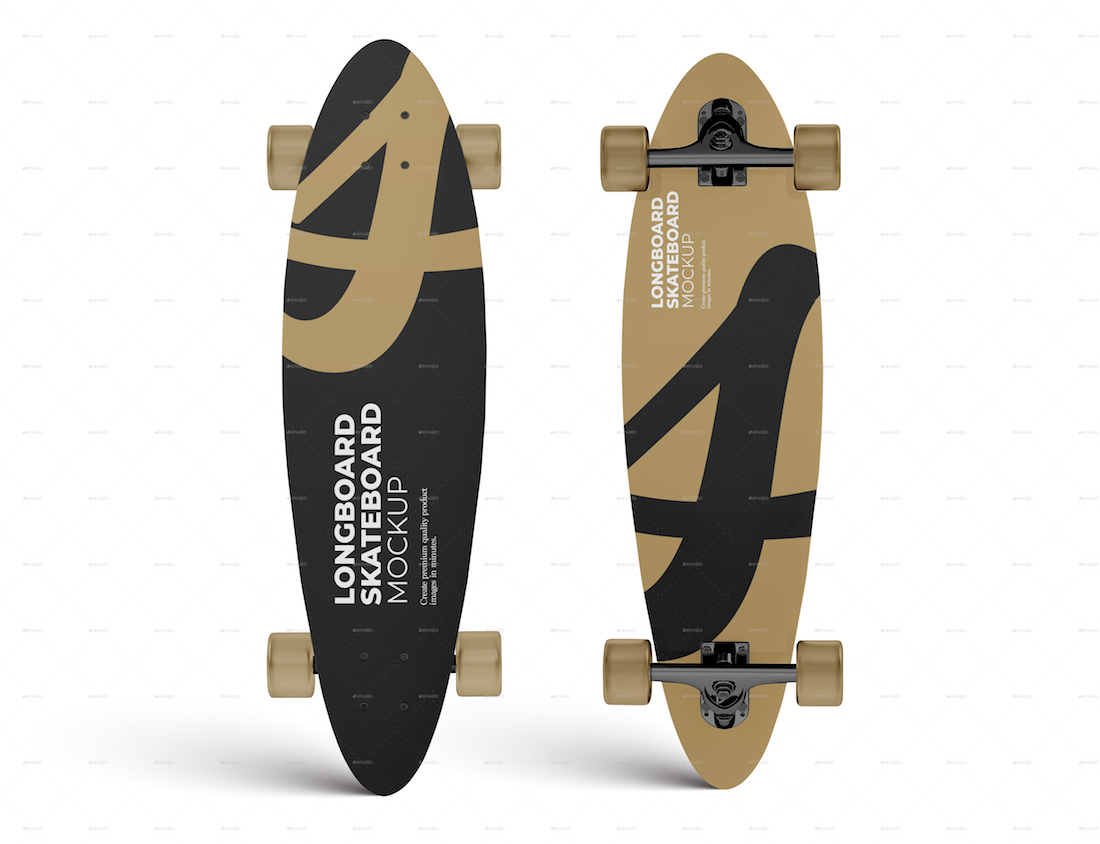 longboard skateboard mockup template