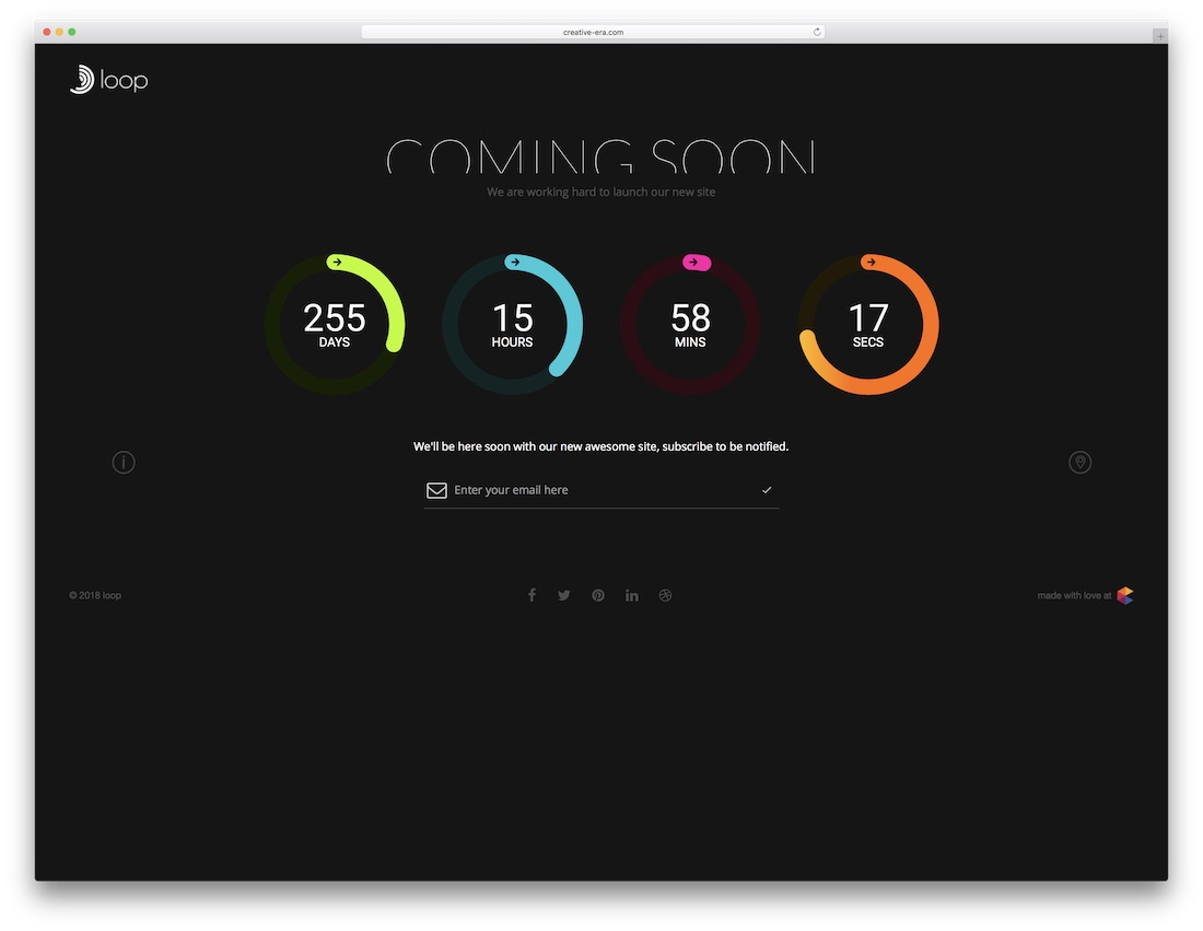 loop coming soon website template
