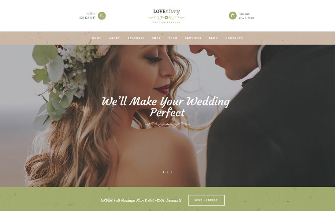 love story HTML wedding website template