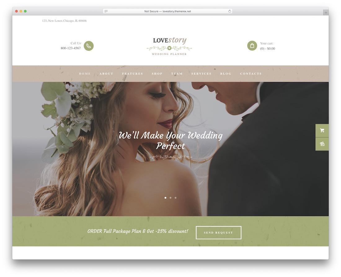 love story event planner wordpress theme