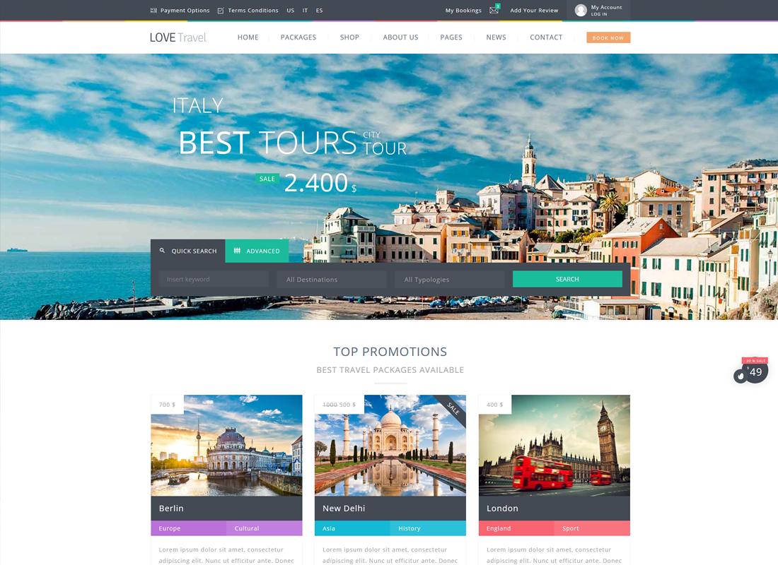 Love Travel | Creative Travel Agency WordPress Theme