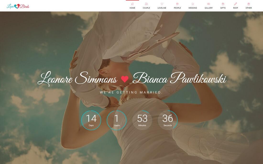 lovebirds HTML wedding website template