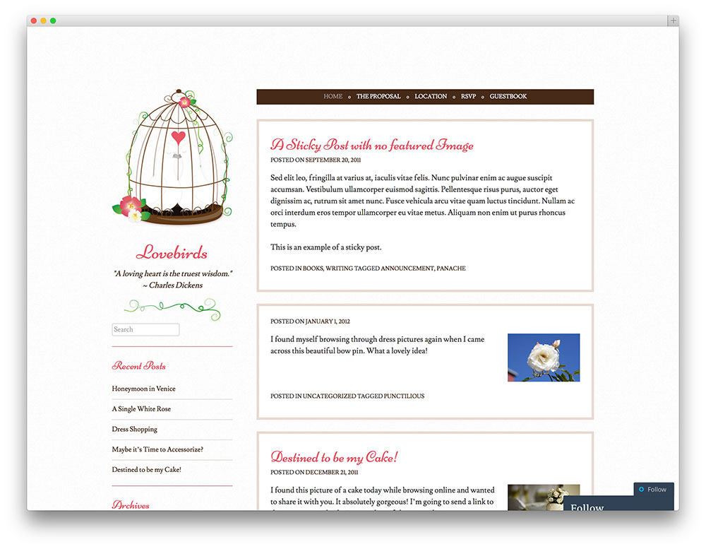 lovebirds classic wedding template