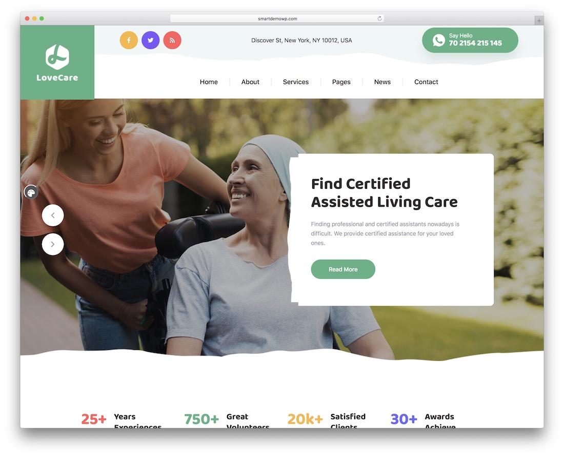 lovecare elderly care wordpress theme