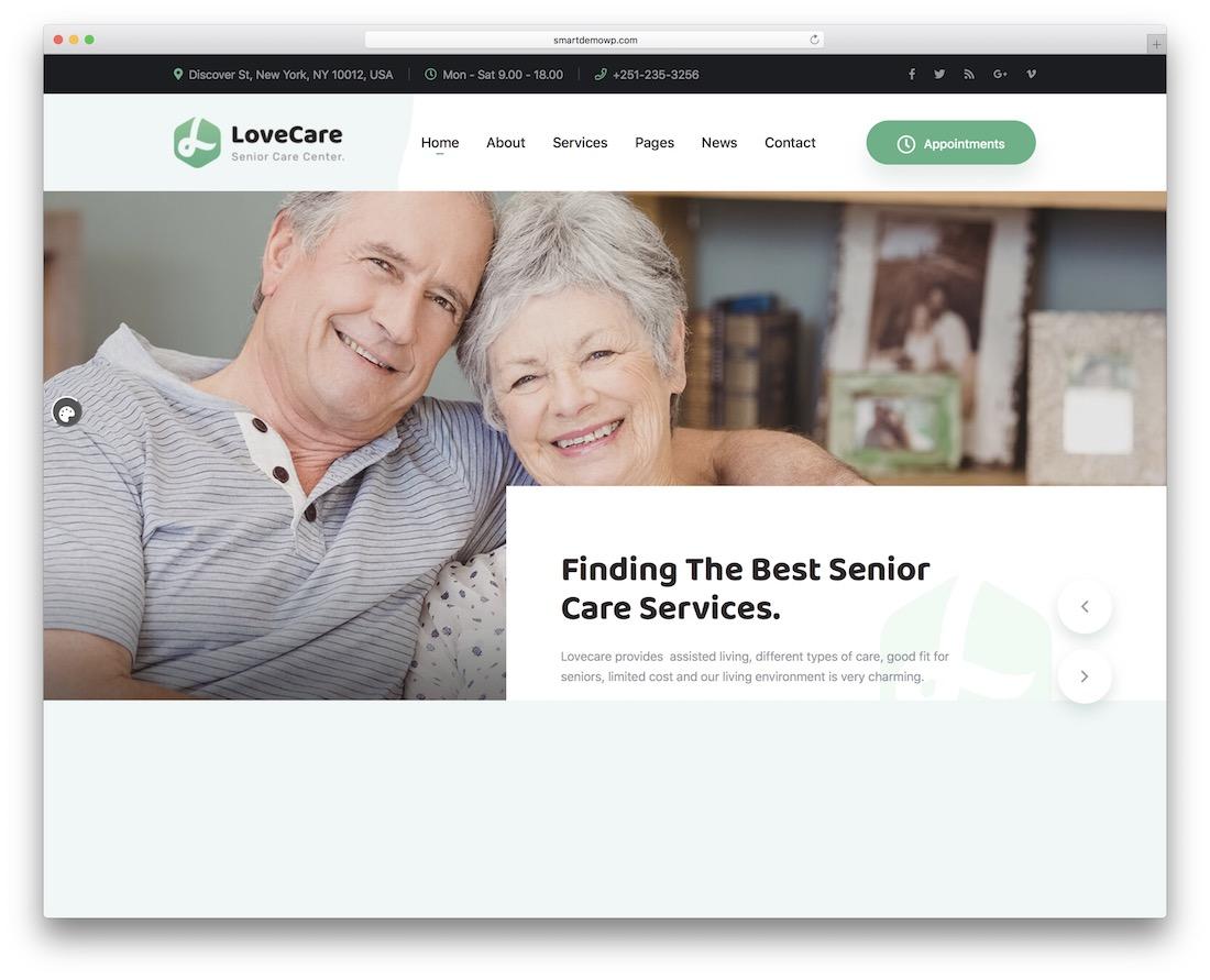 lovecare senior care wordpress theme