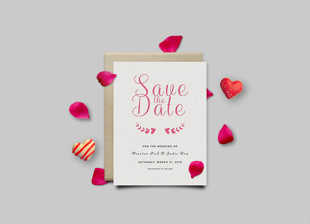 lovely date invitation card mockup