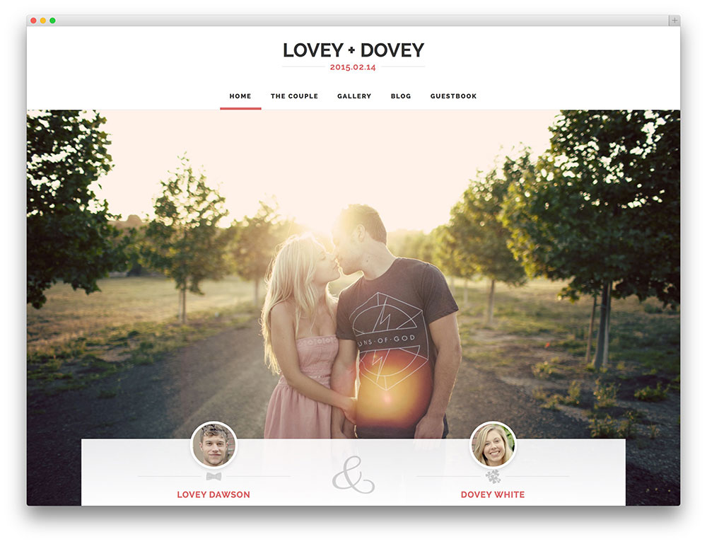 lovey dovey bridal wordpress template
