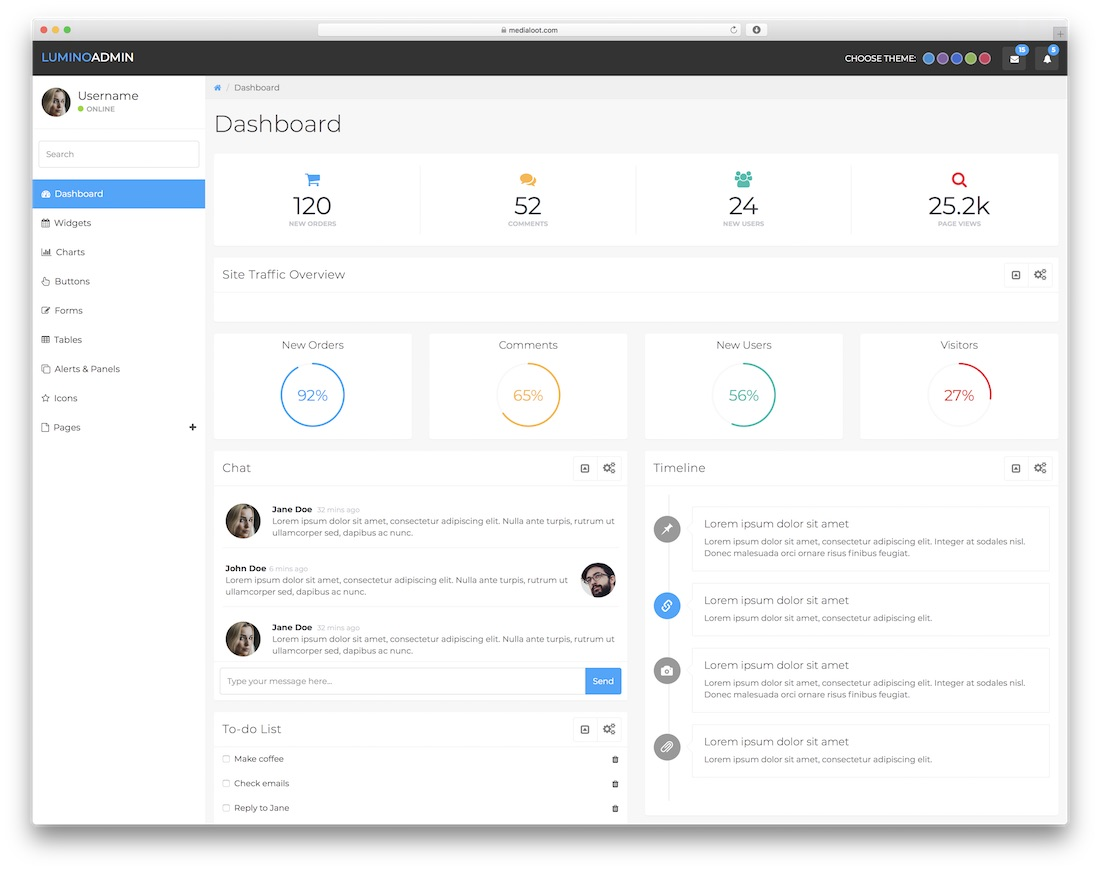 lumino free dashboard template