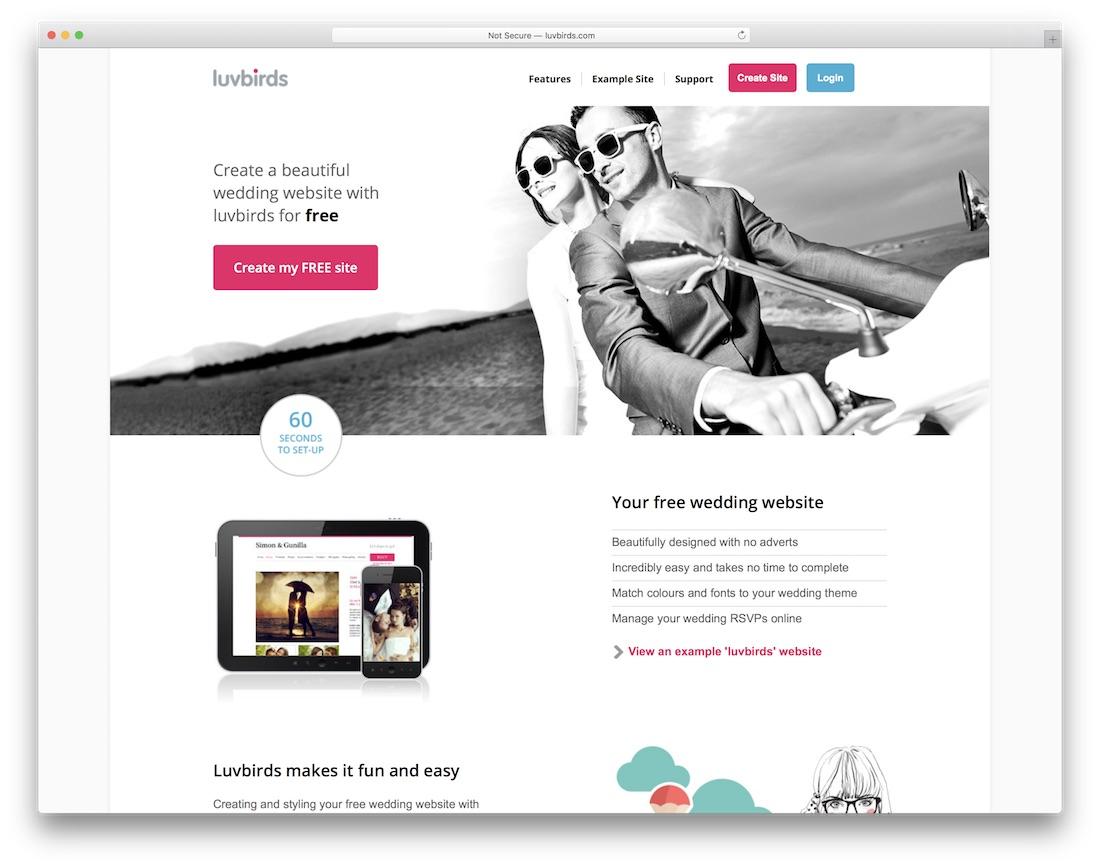 luvbirds wedding website builder