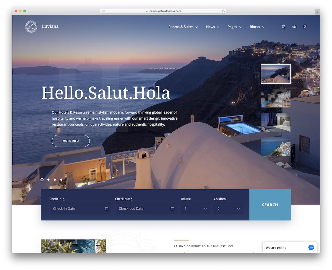 luviana hotel website template