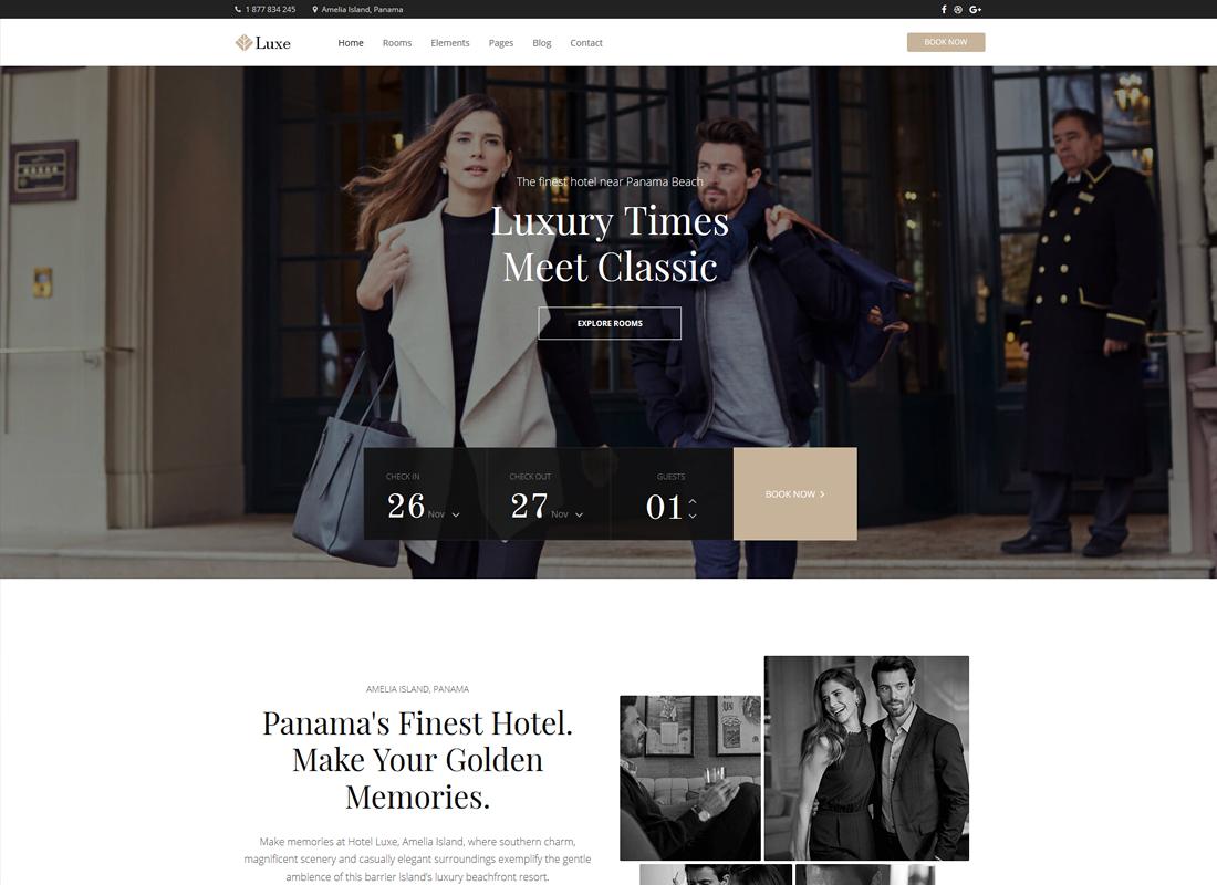 Hotel Luxe | Hotel Booking WordPress Theme