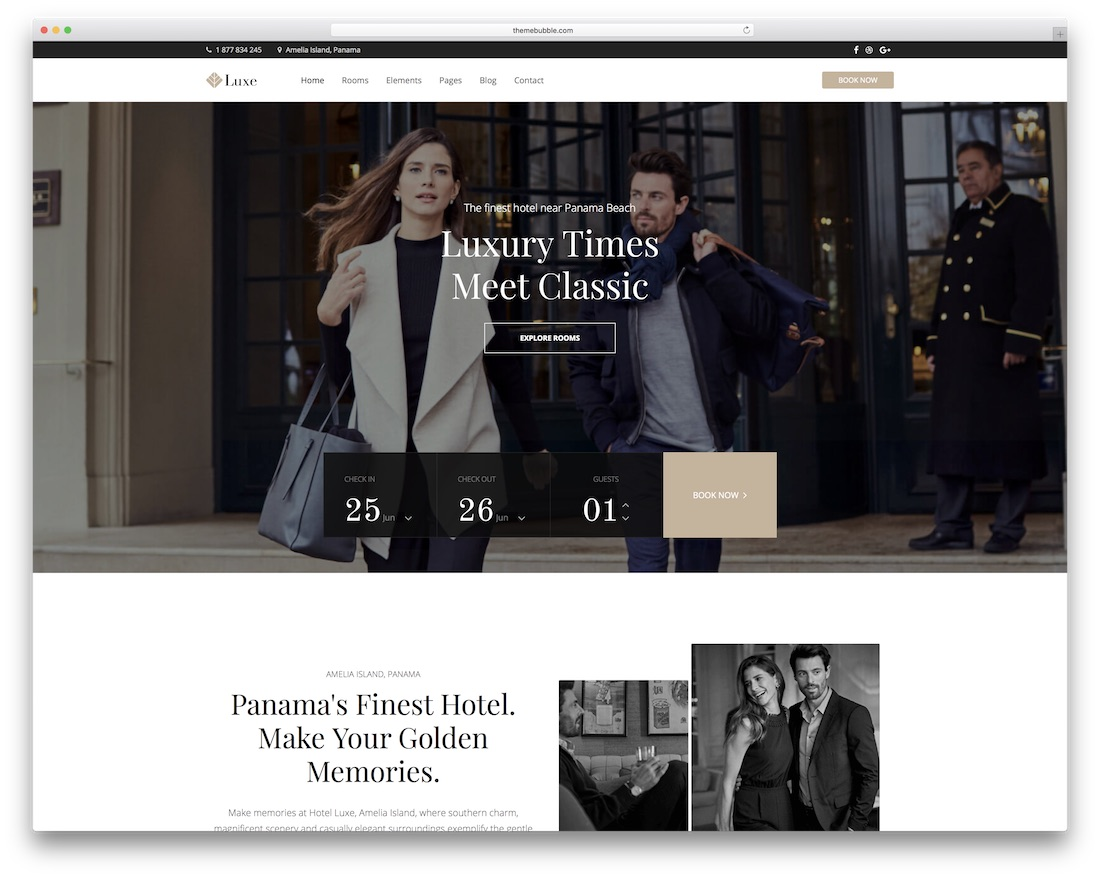 hotel de luxe theme wordpress