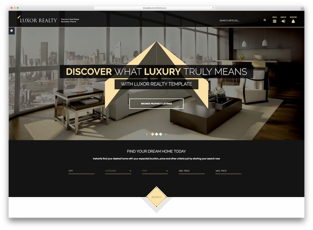 luxor realty real estate website template