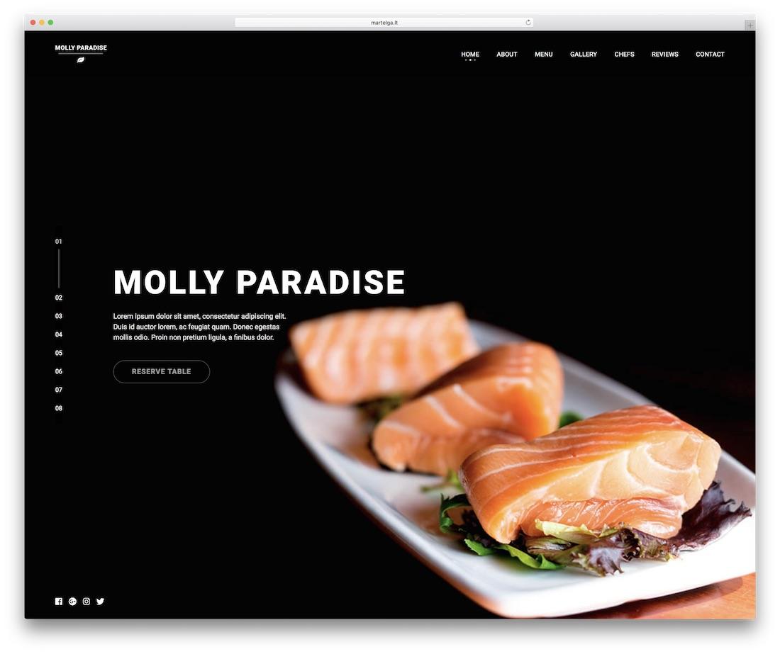 luxury food website template
