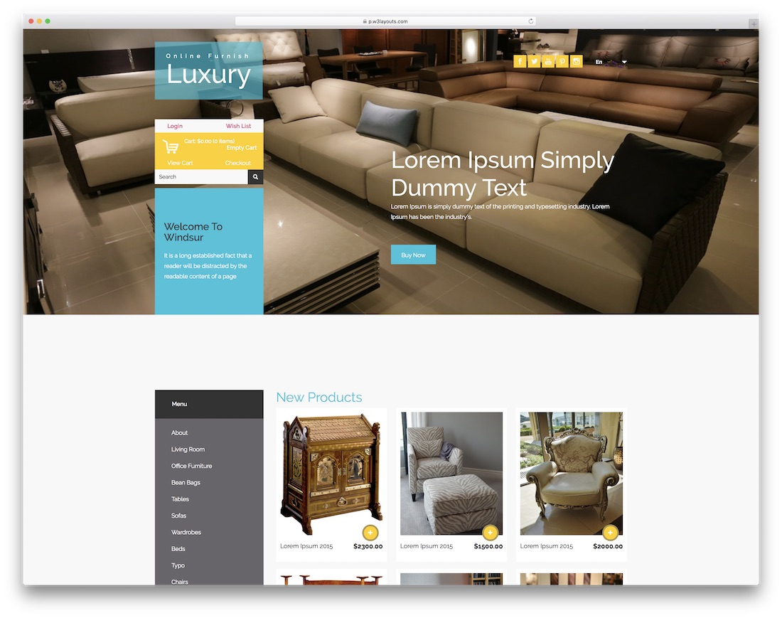luxury furnish free bootstrap ecommerce website template