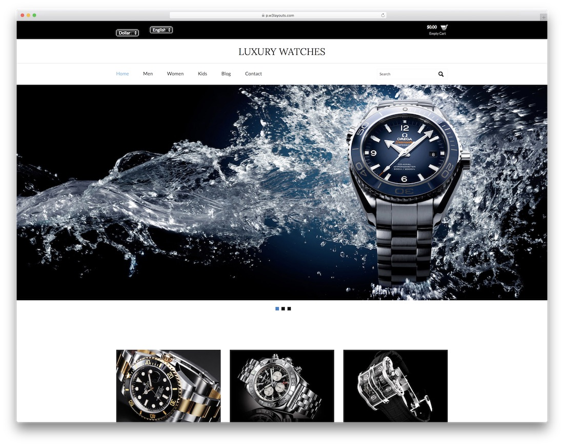 luxury watches free bootstrap ecommerce website template