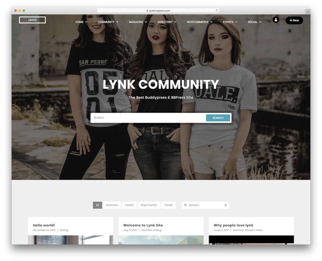 lynk buddypress wordpress theme