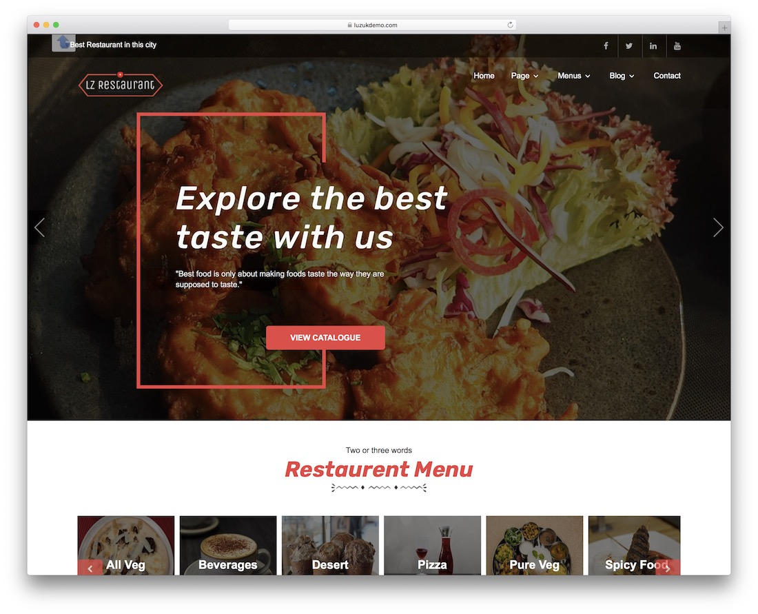 lzrestaurant free wordpress theme
