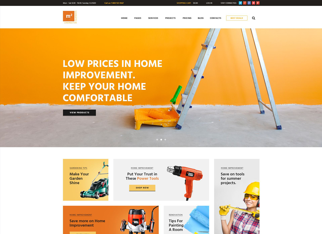 m2 - A Modern Construction Equipments and Building Tools Store WordPress Theme