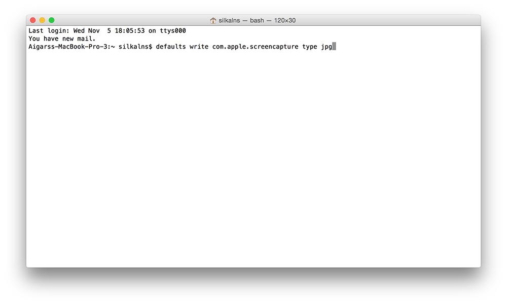 Mac OS X Yosemite Terminal