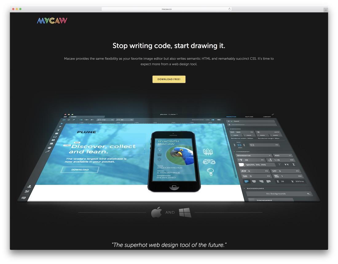 macaw website builder for designers