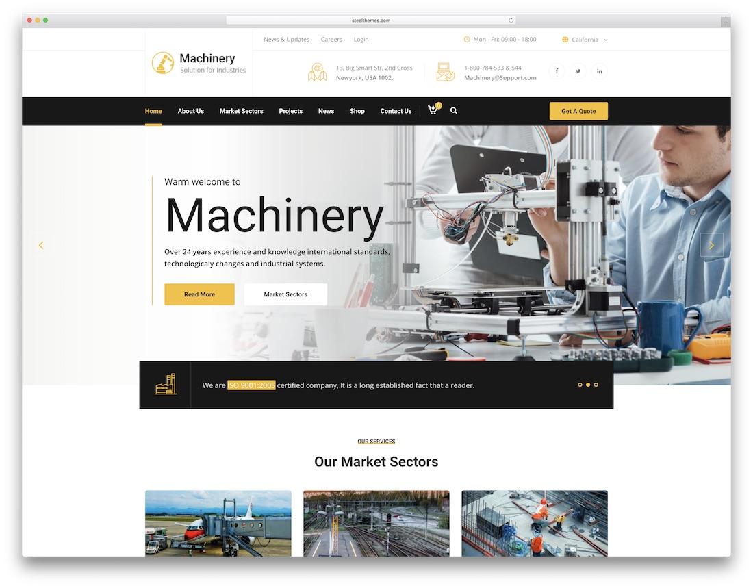 machinery html construction company template