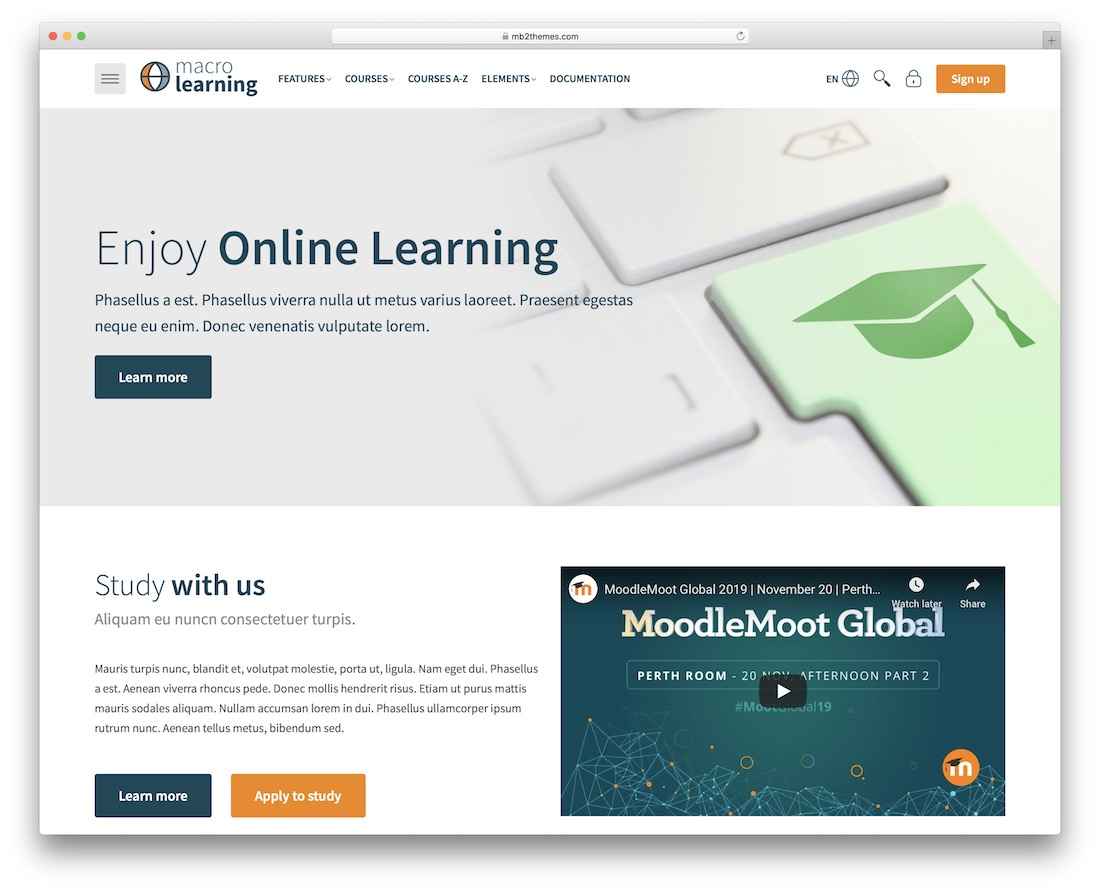 macro learning moodle bootstrap template