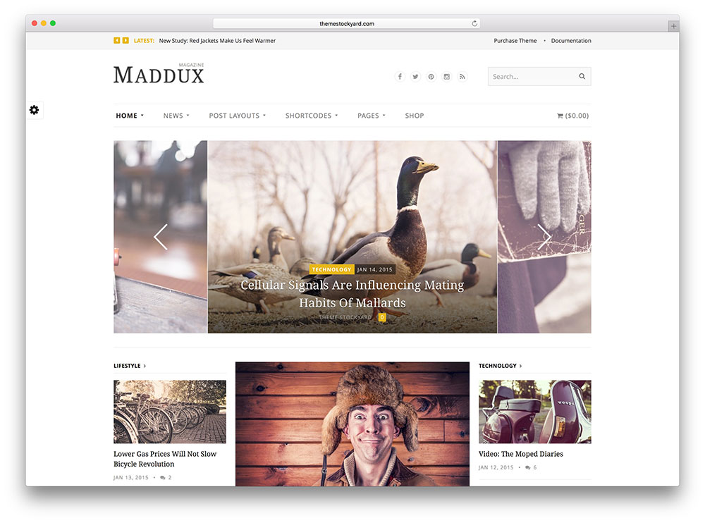 maddux - simple masonry blog theme