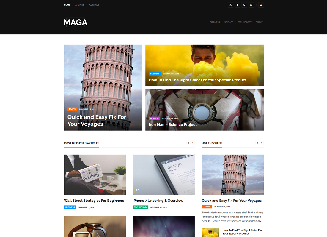 Maga | Magazine, Newspaper and Review WordPress Theme